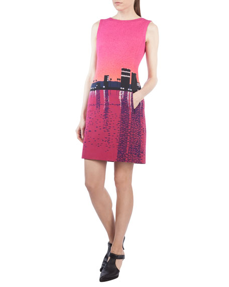 Akris punto Sunset-Print Sleeveless Shift Dress and Matching