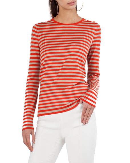 Mixed-Striped Crewneck Top