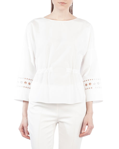 Akris punto Drawstring-Waist Cotton Blouse w/ Punto Lace