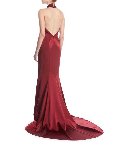 Seamed Satin Halter Gown