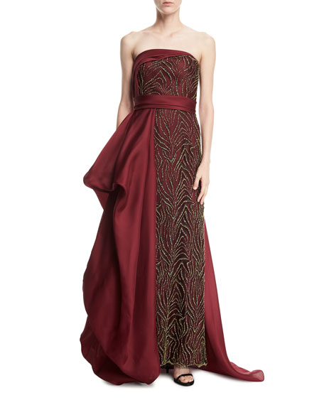 Rubin Singer Strapless Beaded Gazar Side-Drape Gown
