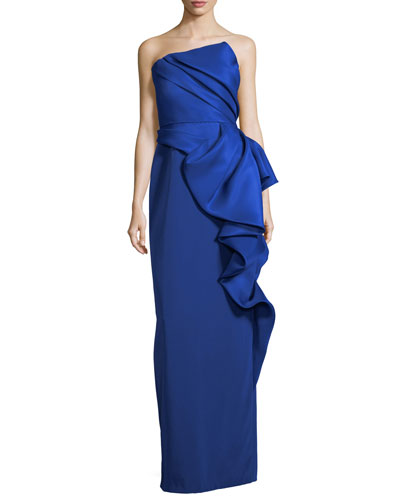 Strapless Crepe Column Evening Gown w/ Draped Overlay