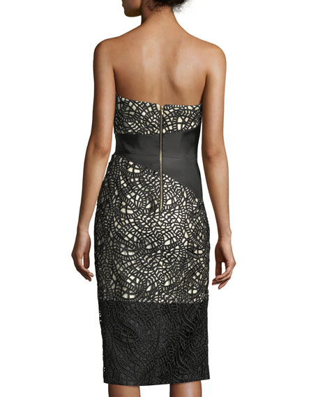Strapless Satin Cocktail Dress with Lace Overlay