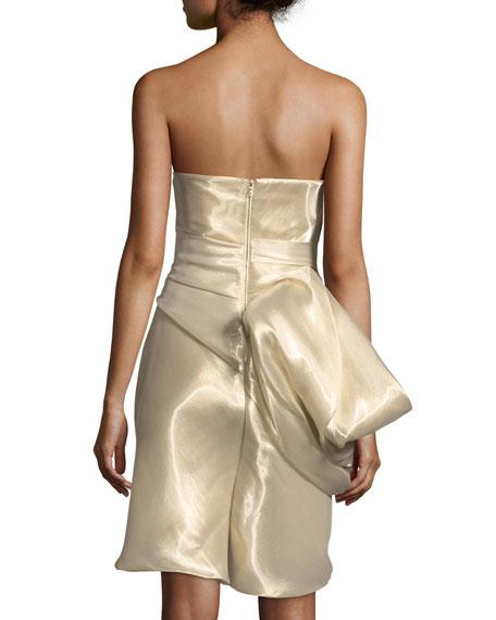 One-Shoulder Ruched Metallic Cocktail Dress