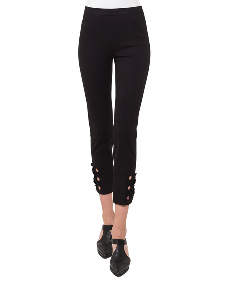 Franca Flat-Front Side Zip Leggings with Cutout Hem