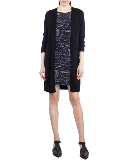 Akris punto Round-Neck Long-Sleeve Printed Silk-Front Sweaterdress