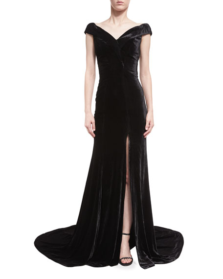 Violetta Velvet Off-the-Shoulder Gown