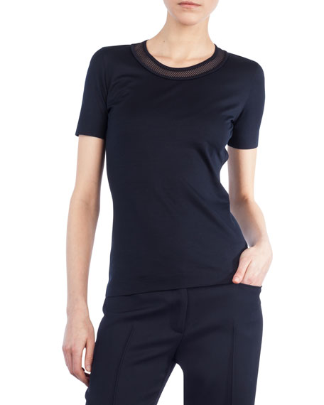 Mesh-Trim Short-Sleeve T-Shirt
