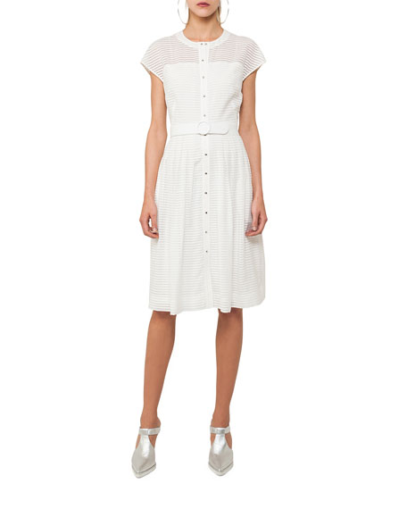 Button-Front Cap-Sleeve Belted Midi Dress