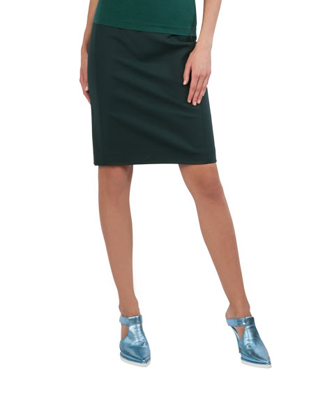 Techno-Stretch Back-Zip Knee-Length Pencil Skirt