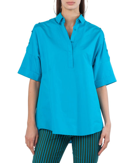 Akris punto Button-Placket Elbow-Sleeve Cotton Blouse with