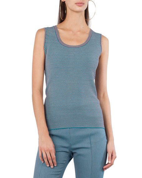 Round-Neck Sleeveless Jacquard-Knit Top