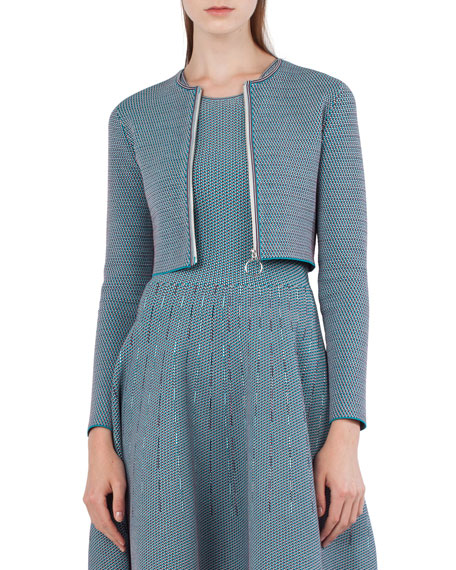 Akris punto Sleeveless Jacquard-Knit Fit-and-Flare Dress and