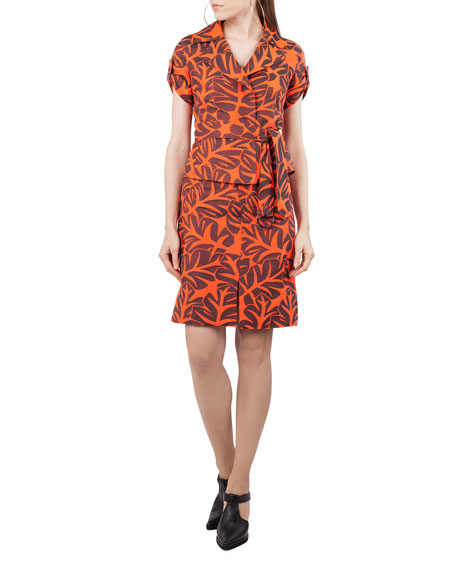 Tropical-Leaf Jacquard A-Line Knee-Length Skirt