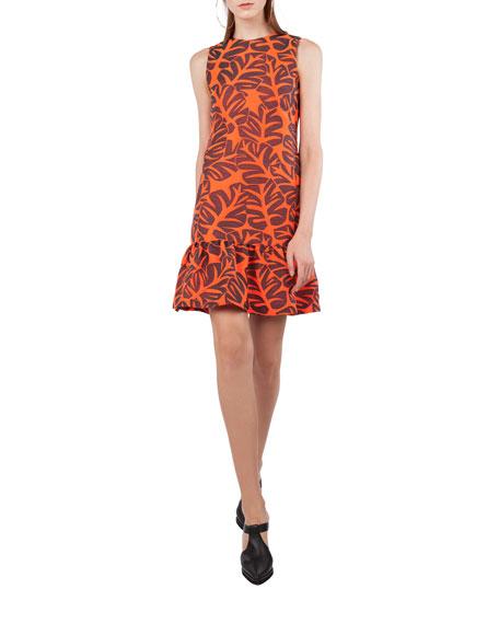 Sleeveless High-Neck Tropical-Leaves Jacquard Sheath Dress