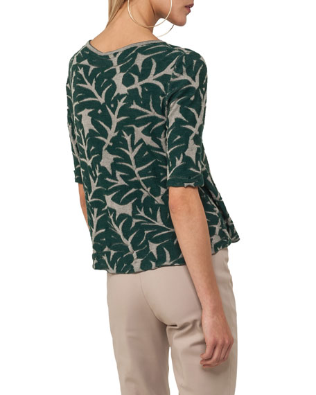 Round-Neck Elbow-Sleeve Tropical-Leaf Jacquard Top