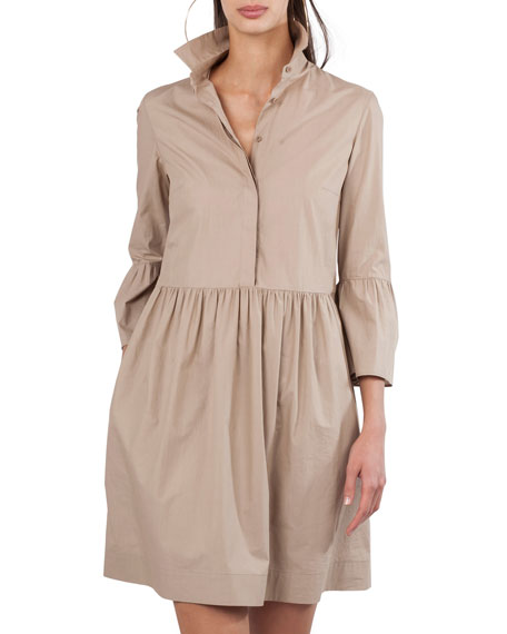 Button-Front Flared-Skirt Short Cotton Shirtdress