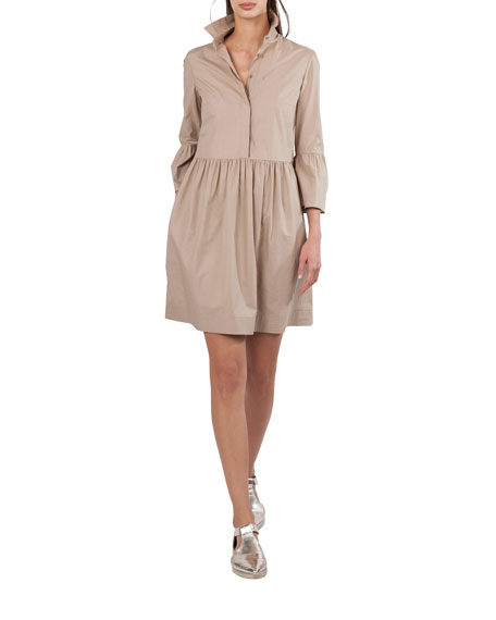 Akris punto Button-Front Flared-Skirt Short Cotton Shirtdress
