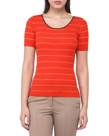 Round-Neck Short-Sleeve Striped Knit Top