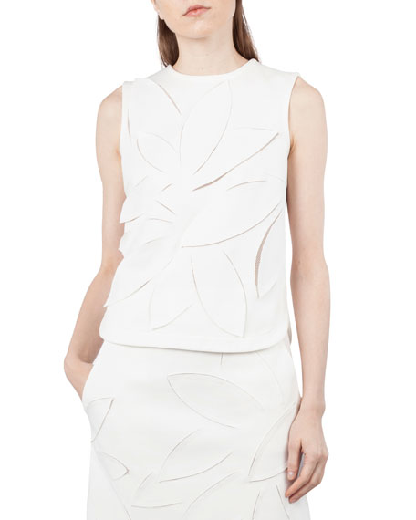 Akris punto Round-Neck Sleeveless 3-D Mesh Flower Poplin