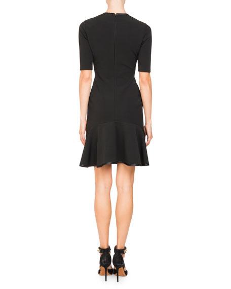 Short-Sleeve Split-Neck Dress