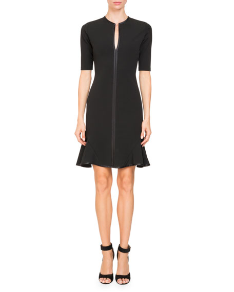 Givenchy Short-Sleeve Split-Neck Dress