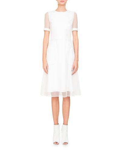 Anna Short-Sleeve Cocktail Dress w/ Tulle Overlay
