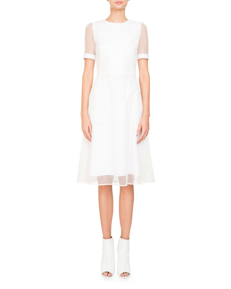 Anna Short-Sleeve Cocktail Dress w/ Tulle Overlay