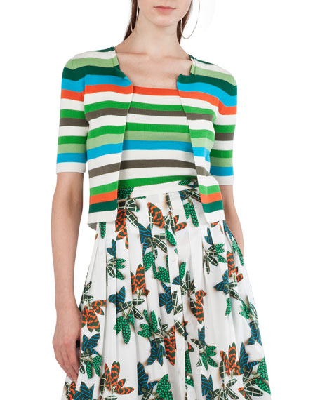 Akris punto Tropical-Leaves Pleated Printed Midi Skirt and