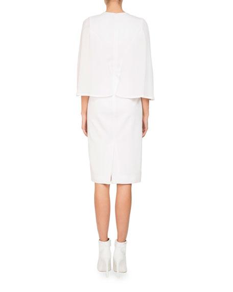 Jewel-Neck Cape Sleeve Silk Georgette Cocktail Dress