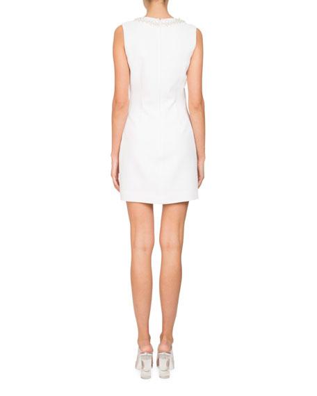 Sleeveless Stretch-Cady Sheath Mini Cocktail Dress w/ Embellishments