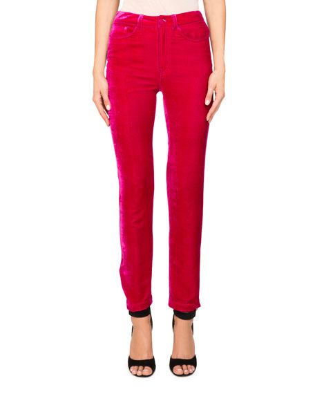 Fluid Velvet High-Rise Straight-Leg Pants w/ Logo Detail