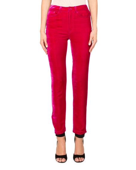 Givenchy Fluid Velvet High-Rise Straight-Leg Pants w/ Logo