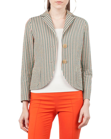 Akris punto Two-Button Striped Seersucker Blazer