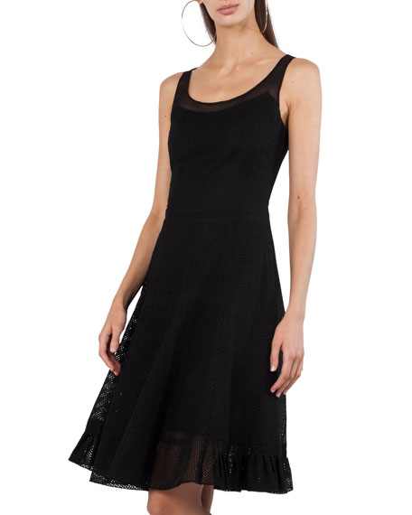 Scoop-Neck Sleeveless Fit-and-Flare Perforated Cotton Dress