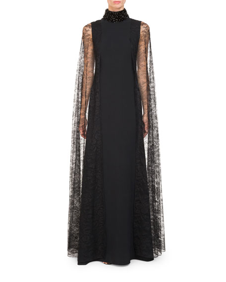 Givenchy High Beaded-Neck Cady Evening Gown w/ Lace