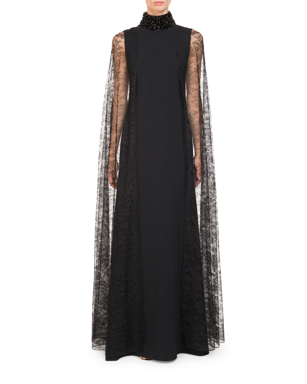Givenchy High Beaded-Neck Cady Evening Gown w/ Lace Cape Sleeves ...