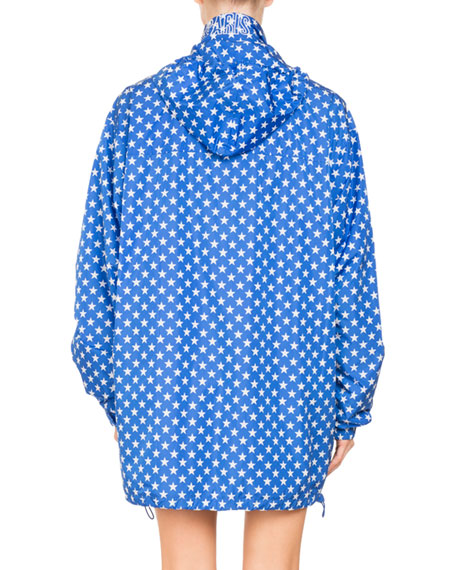 Star-Printed Hooded Lightweight Wind-Resistant Jacket