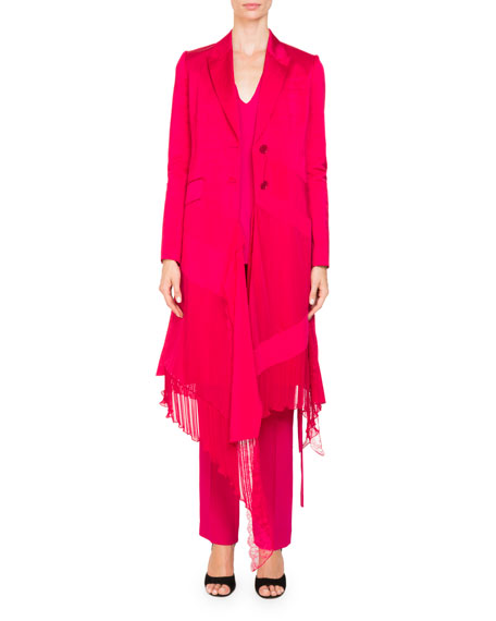 Two-Button Mixed-Panel Ruffled-Hem Linen-Silk Coat