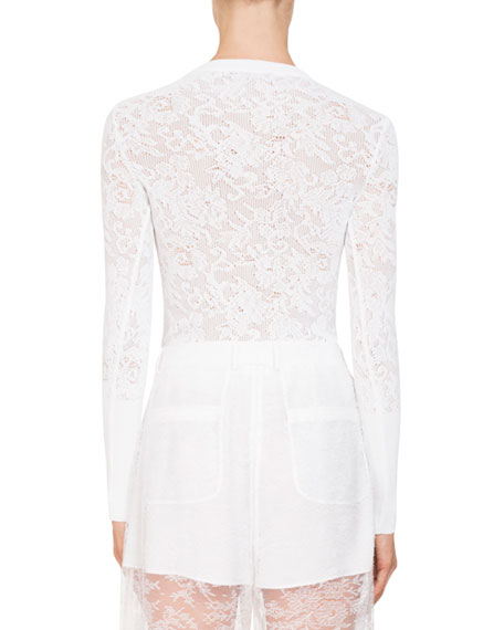 Long-Sleeve Floral-Lace Blouse