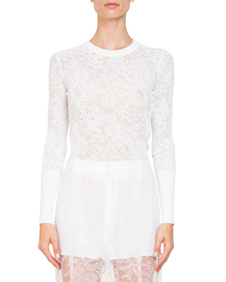 Givenchy Long-Sleeve Floral-Lace Blouse