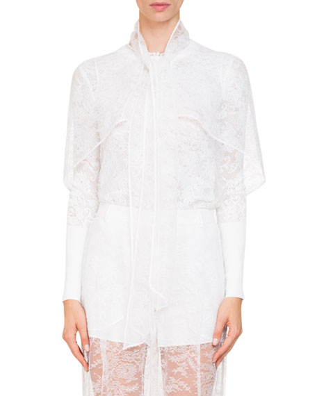 Short Cape Sleeve Sheer Lace Blouse