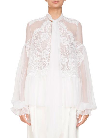 Givenchy Long-Sleeve Flounce-Hem Sheer Silk Georgette Blouse w/
