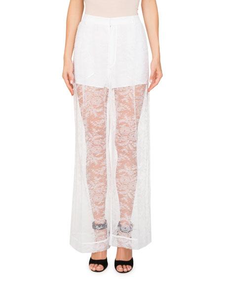 Floral-Lace Wide-Leg Pants w/ Shorts Lining