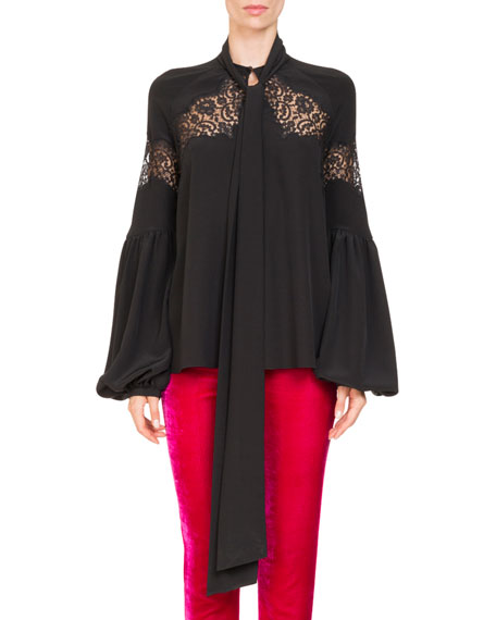Givenchy Blouson-Sleeve Silk Georgette Blouse w/ Lace Insets