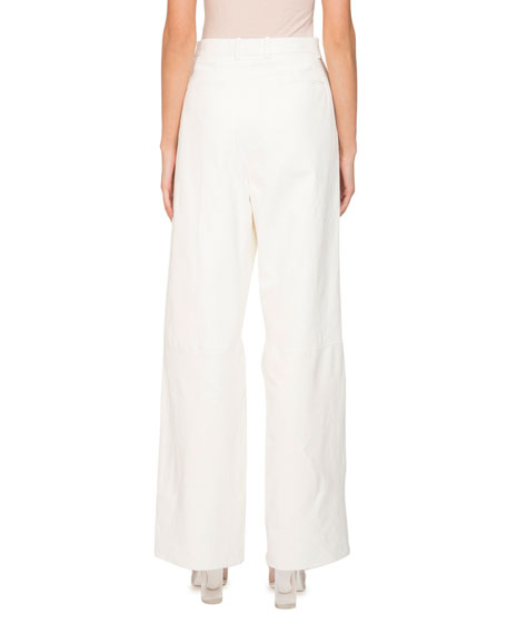 Wide-Leg High-Waist Napa Leather Pants w/ Pleats
