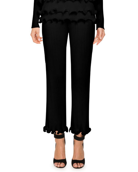 Givenchy High-Waist Ribbed Knit Straight-Leg Pants w/ Ruffled