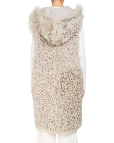 Sleeveless Reversible Hooded Shearling Long Vest
