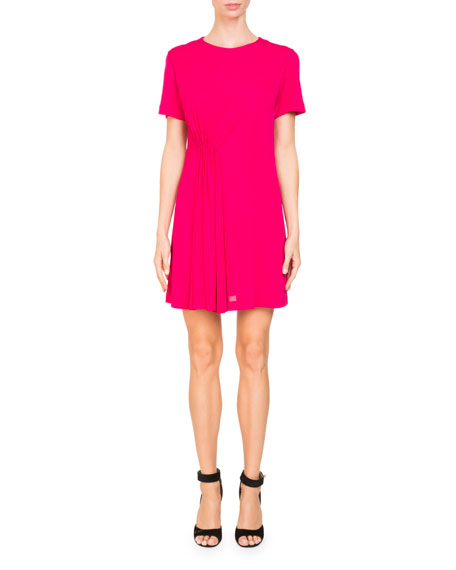 Givenchy Jewel-Neck Short-Sleeve Crepe Dress