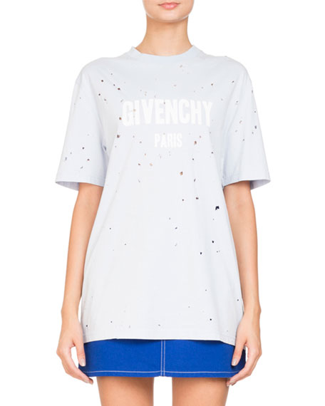 Givenchy Destroyed Short-Sleeve Logo Jersey T-Shirt